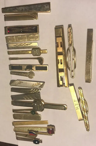 Vintage Tie Clips / Bars - Lot of (25) Gold Tone