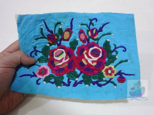 20.5x14cm Chinese ethnic minority women's Hand Embroidery floral piece