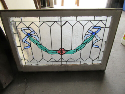 ~ANTIQUE STAINED GLASS TRANSOM WINDOW ~ 34 x 23 ~ ARCHITECTURAL SALVAGE ~