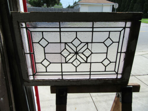 ~ANTIQUE STAINED GLASS TRANSOM WINDOW BEVELS ~ 34.75 X 22.5 ~ SALVAGE ~
