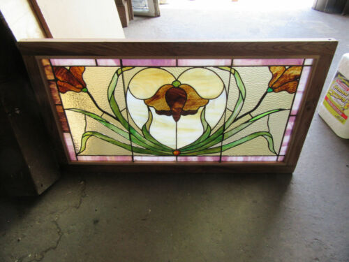 ~ ANTIQUE STAINED GLASS TRANSOM WINDOW ~ 41.75 x 23 ~ ARCHITECTURAL SALVAGE ~