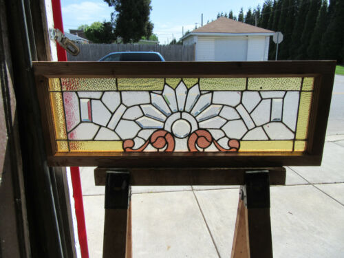 ~ ANTIQUE STAINED AND BEVELED GLASS TRANSOM WINDOW ~ 44 X 16 ~ SALVAGE ~