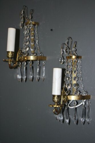 Pair antique gilt bronze crystal French Louis XVI ormolu wall lights sconces