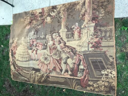 """Antique Tapestry Courting Couple or Curtain Pole Rod Style 68"""" W x 49"""" Length"""