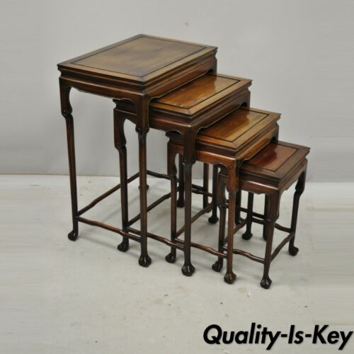 4 Vintage Chinese Carved Hardwood Rosewood Nesting Side Tables with Paw Feet