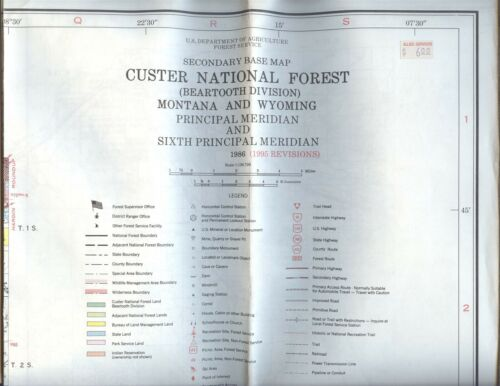 USDA National Forest Service Map CUSTER Beartooth Division Montana Wyoming 1986