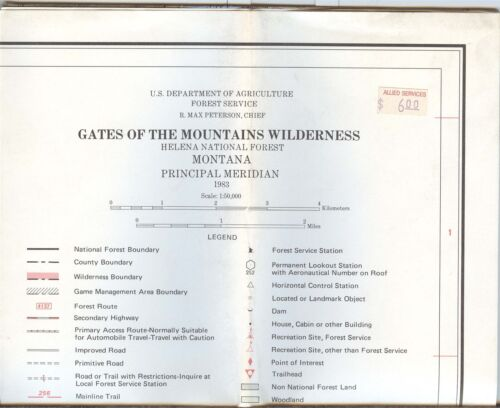 USDA National Forest Service Map GATES OF THE MOUNTAINS Wilderness Montana 1983