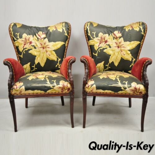 Pair French Hollywood Regency Wingback Grosfeld House Style Lounge Arm Chairs