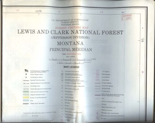 USDA National Forest Service Map LEWIS AND CLARK Jefferson Div Montana 1980/1988