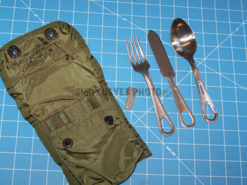 Mess Spoon Fork Knife Utensil USA Military USMC w Medic Pouch Case & Shelby P38Mess Kits - 158443