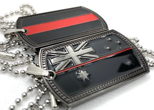 Thin Red Line, Black Dog Tag, Australian Flag, Fire Fighter, 1 X Tag With Chain