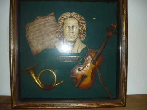 Beethoven sculpture and music instruments in framed box