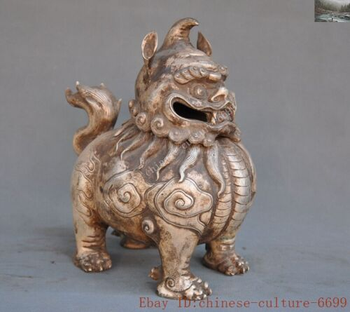 Chinese china silver auspicious lucky lion foo dog statue Incense burner Censer