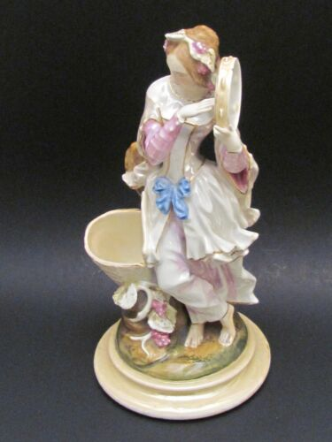 """Antique Hand Painted 10.5"""" Old Paris French Female Figurine with Tambourine 1855"""