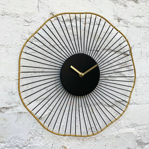Modern Retro Black & Gold Wire Metal Round Quartz Home Bedroom Yoko Wall Clock
