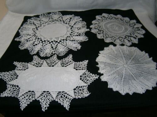 4 VINTAGE WHITE FINELY CROCHET & EMBROIDERED LINEN DOILIES