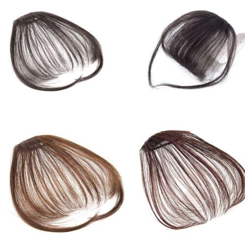 Invisible Seamless Bangs Fringe Fake Hair Extensions Straight Color Black E0m2