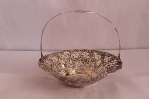 BASKET WITH HANDLE IN 800 SILVER 80% PURITY MOTIF OF CHILDREN PLAYING HOLDING BI