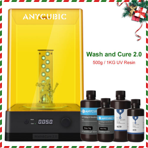 Anycubic Wash and Cure Machine for 3D Printer 405nm UV Light Cure Resin 500ML 1L