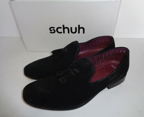 Schuh Mens Black Suede Leather Slip On Formal Dress Shoes RRP £57 New Size 7