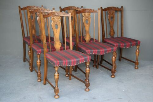 Antique Tudor Gothic dining chairs vintage saddle seats 1920 carved oak set of 6