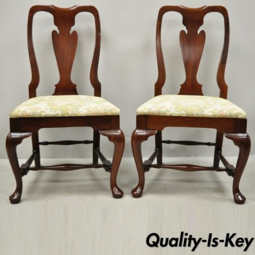 Vintage Solid Cherry Wood Queen Anne Style Stretcher Base Dining Side Chairs