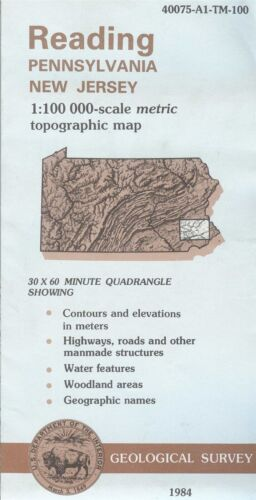 USGS Topographic Map READING Pennsylvania New Jersey -1984- 100K -