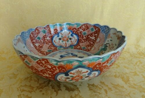 "Antique Japanese Hand Painted Imari Bowl Scalloped Rim 9 1/2"" D"