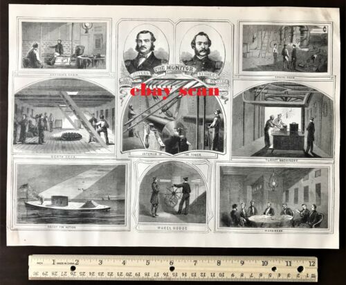 1866 Antique ORIGINAL Large Print ~ USS MONITOR  US Navy Civil War Ironclad ShipPosters & Prints - 156382