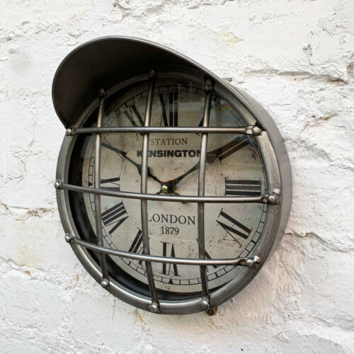 Metal Industrial Silver Caged Warehouse Factory Station Round Wall Art Clock Art