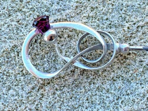 Sterling Silver Amethyst Topped  Hat Pin - Charles Horner - Chester - 1911