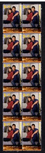 ROSWELL TV STRIP OF MINT 10 VIGNETTE STAMPS, BEHR & APPLEBY 2