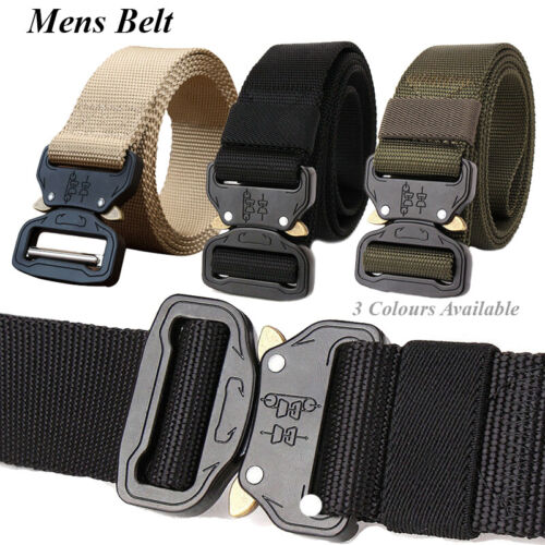 Mens Canvas Outdoor Tactical Belt Army Waist Web Strap Waistband Heavy Duty 1Pc