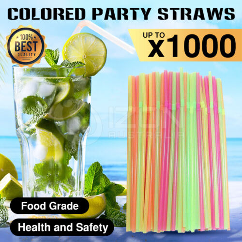 Multi Colored Straws BPA-Free Bendable Disposable Drinking Plastic Party Straws <br/> 🔥🔥Buy 1000pcs get 200pcs for Free 🔥🔥