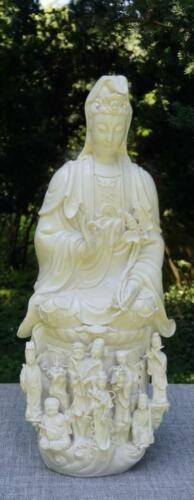 Vintage Large Chinese Blanc De Chine Guanyin With Attendants, Mid 20th Century.