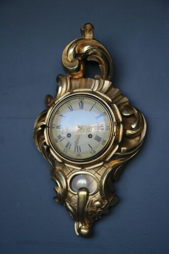 Antique Gilt wood carved rococo wall clock 24ct gold leaf Swedish mechanism 1930