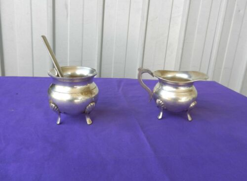 Sugar Bowl & Creamer with Spoon EPNS Shell Feet Vintage