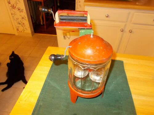 EARLY 1900S CHILD'S GLASS AND METAL WASHING MACHINE WITH WRINGER MADE BY WOLVERI