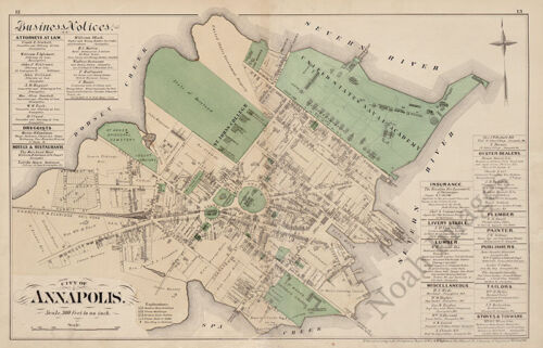 Map of City of Annapolis Maryland c1878 24x36