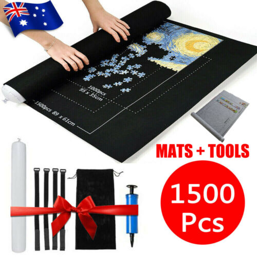 1500 PCS Jigsaw Puzzle Roll Mat Puzzle Storage Saver Pad Toys with Inflator Tool