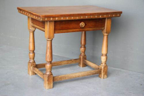 Provincial antique oak refectory table lamp table single drawer on Georgian legs