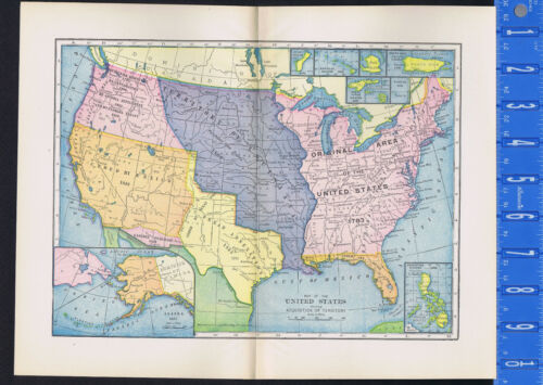 MAP of the United States Showing Acquisition of Territory - 1899 Map Print