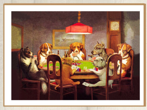 Dogs Playing Poker  Huge A1 size Vintage Canvas Wall Art Print Poster Unframed
