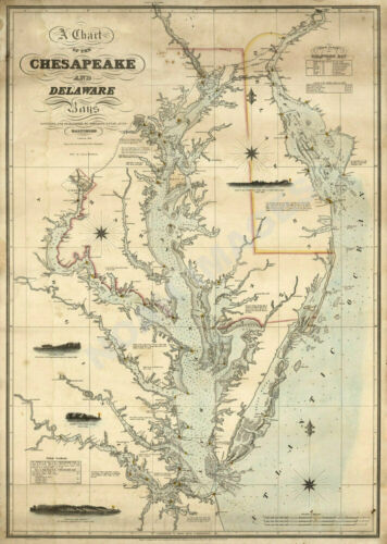 Map of Chart of Chesapeake and Delaware Bays c1862 18x24