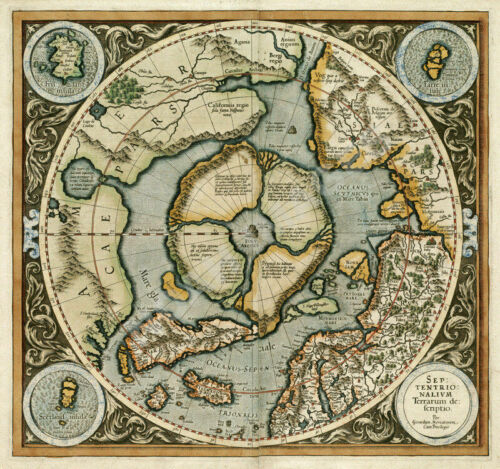Map of Artic Region c1595 25.5x24