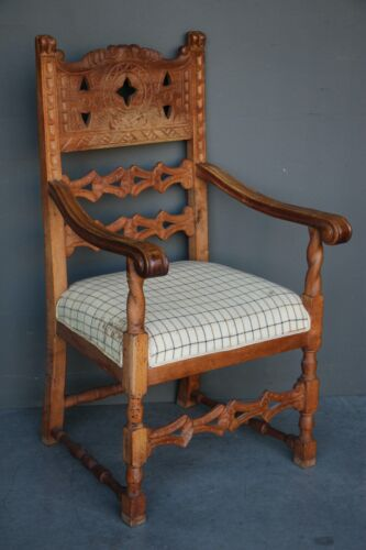 Rare antique Nordic provincial oak carved throne chair armchair 1880 ornate BIG