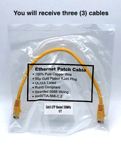 Ethernet Patch Cable Cat6 UTP 1Ft RJ45 24AWG Yellow LAN Network x3
