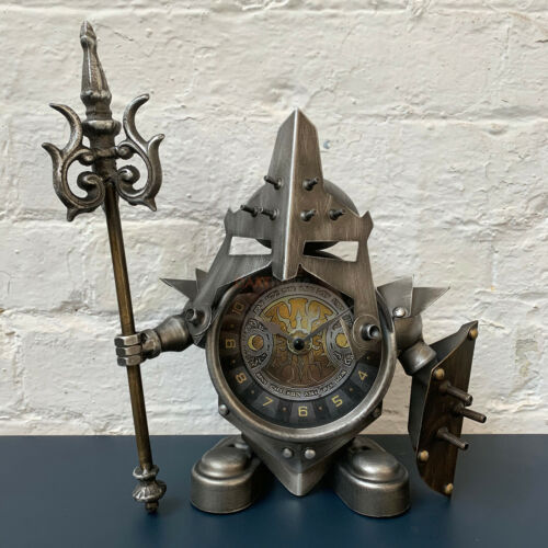 Industrial Metal Home Steampunk Warrior Jouster Shield Desk Bedside Table Clock