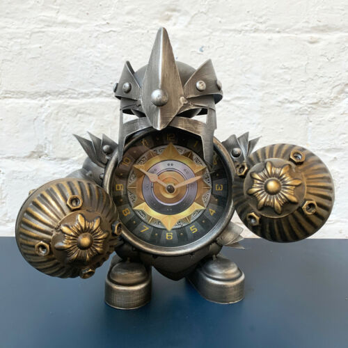 Industrial Metal Home Office Steampunk Warrior Jouster Desk Bedside Table Clock