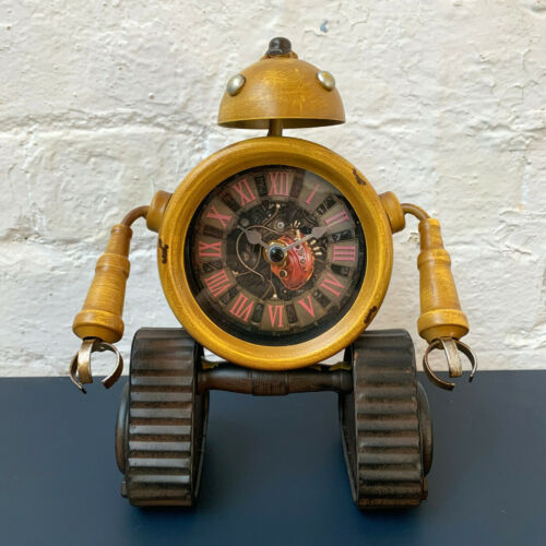 Industrial Yellow Metal Home Office Robot Desk Bedside Table Roman Numeral Clock
